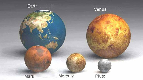Earth compared to some other planets